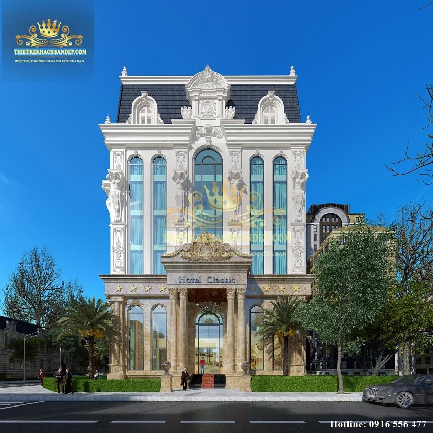Hình ảnh: Phối cảnh một mặt tiền đẹp mỹ mãn của công trình, những đặc trưng của phong cách cổ điển Pháp được phô diễn khéo léo.