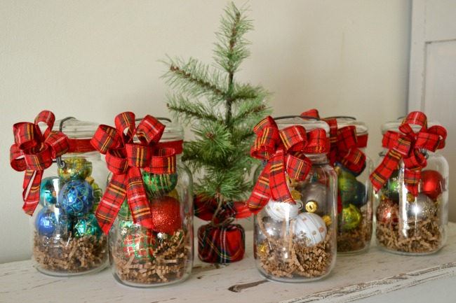 Festive Plaid hostess gifts in vintage mason jars www.homeroad.net