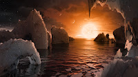 Artist's impression of the surface of the exoplanet TRAPPIST-1f