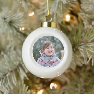 Create Your Own Custom Photo Ceramic Ball Holiday Christmas Ornament