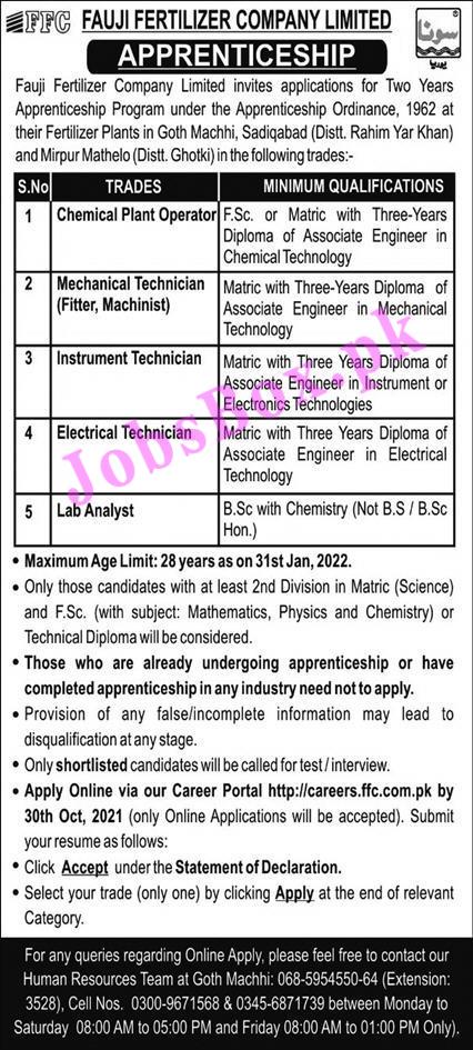 https://careers.ffc.com.pk - FFC Fauji Fertilizer Company Limited Jobs 2021 in Pakistan