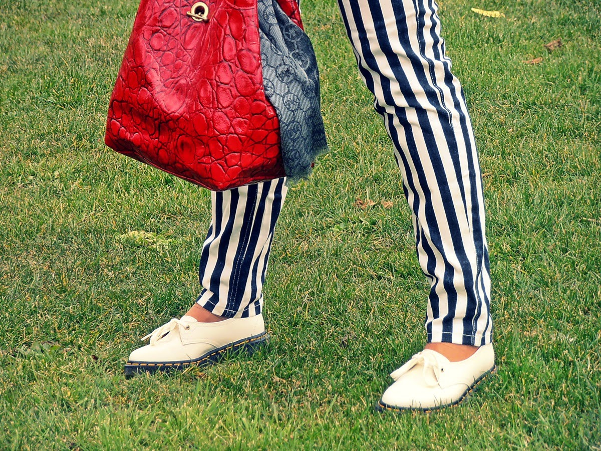 Dr Martens Siano and striped trousers