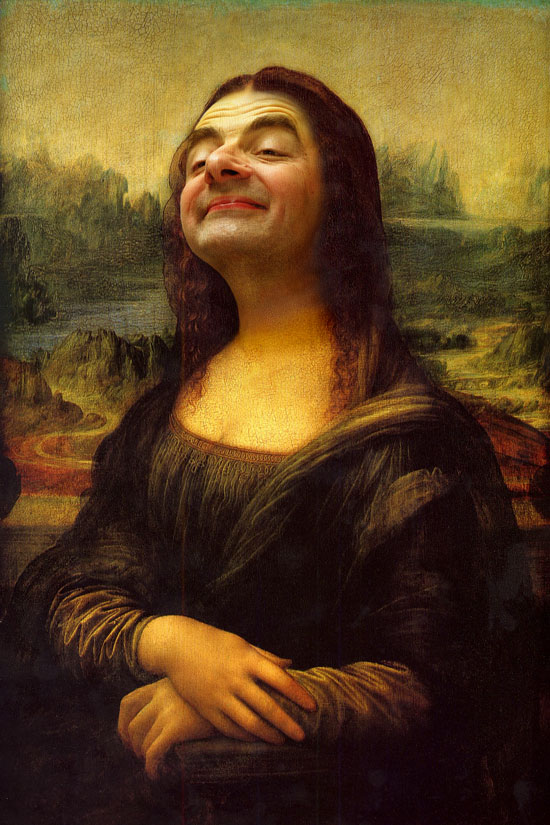 Mona Lisa highjacked by Mr Bean - Extreme high resolution - 24 x 36 @ 350 DPI available for posters now