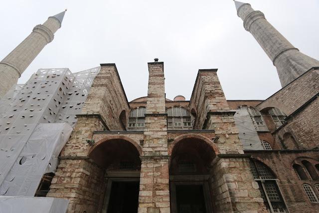 Entering the museum of Hagia Sophia at Sultanahmet in Istanbul, Turkey