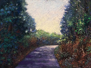 Soft pastel painting of a shaded pathway at Coorg by Manju Panchal