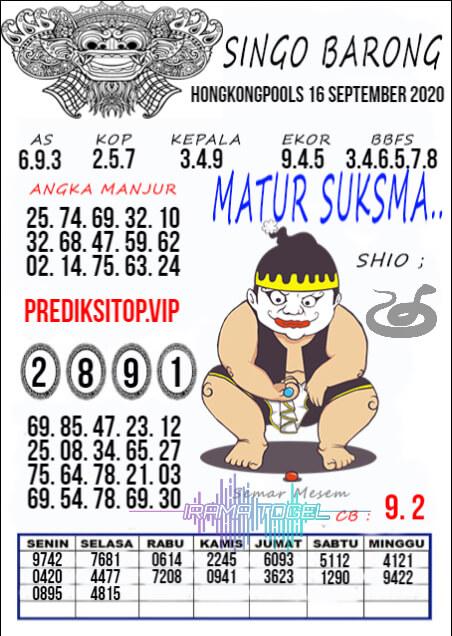 Syair HK Rabu 16 September -