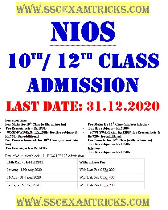 NIOS 10th/ 12th Admit Card