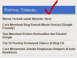 Memasang Widget Daftar Posting Terbaru di Halaman Dalam dan Statis Memasang Widget Daftar Posting Terbaru di Halaman Dalam dan Statis