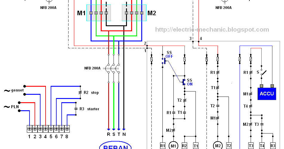 rangkaian%2Bover%2Bgenset%2B2  Phase Motor Wiring Diagram Star Delta on delta 3 phase bank diagram, delta connection diagram, 3 phase 3 wire delta, 3 phase motor control diagrams, 3 phase motor star delta connection,