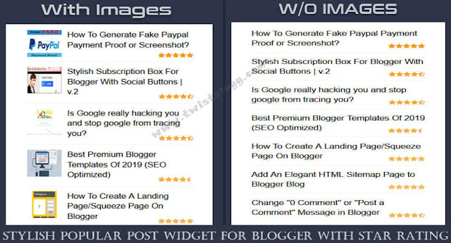 stylish popular post widget for blogger with star rating