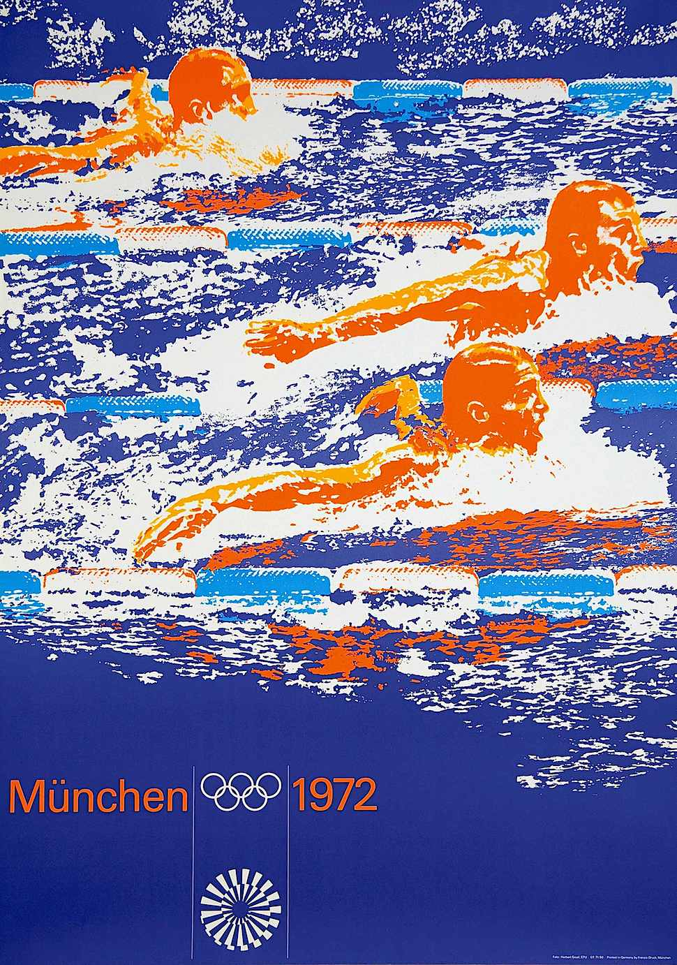 a Herbert Graaf 1972 poster for the Munich Olympics in orange blue and white, showing swimming