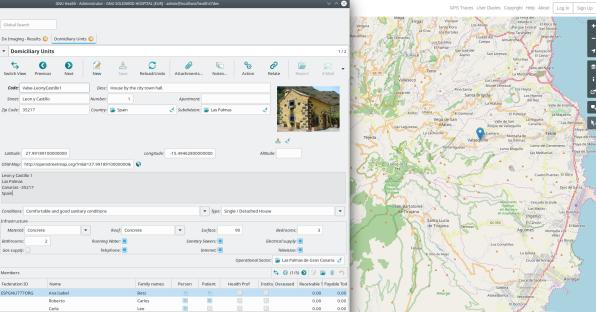 Οικιακή μονάδα στο GNU Health: συνθήκες, μέλη και γεωεντοπισμός που συνδέονται με το OpenStreetMap
