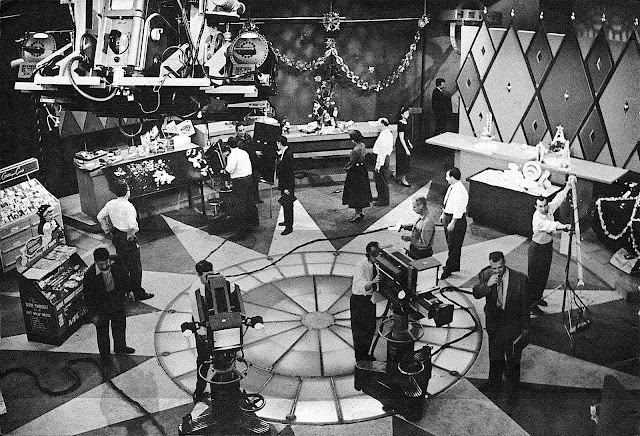 a busy 1955 Television Studio, aerial or birdseye view