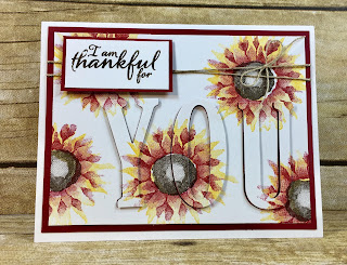 This fall Thinking of You sunflower card is made with the Eclipse Card Technique.  I stamped the beautiful flowers from Stampin' Up!'s Painted Harvest in Crushed Curry and Cherry Cobbler ink (Early Espresso for the center) and then die cut YOU with the Large Letters Framelits.  So easy!  Add some Linen Thread to finish it off!  #stampinup #stamptherapist www.stamptherapist.com