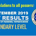 LET Results: September 2019 Secondary Level