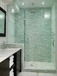 A Great Example Of Using Mosaic Tile On One Wall In Shower And Then Keeping The Other Walls Neutral I Also Love How They Put