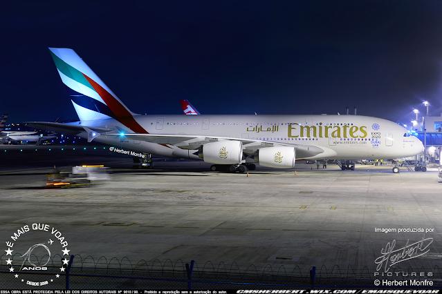 Airbus A380 da Emirates retorna a Moscou | Foto © Herbert Monfre - Fotógrafo de avião - Eventos - Publicidade - Ensaios - Contrate o fotógrafo pelo e-mail cmsherbert@hotmail.com | Imagem produzida por Herbert Pictures - É MAIS QUE VOAR