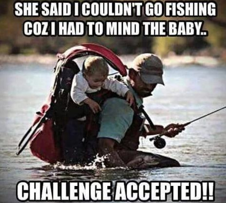 dad and child funny fishing meme