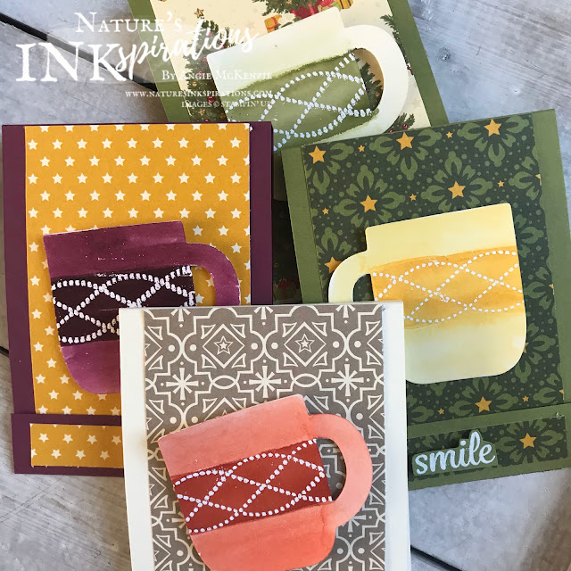 """By Angie McKenzie for 3rd Thursdays Blog Hop; Click READ or VISIT to go to my blog for details! Featuring the Night Before Christmas 6"""" x 6"""" Designer Series Paper and Cup of Cheer Dies from the Stampin' Up! 2019 Holiday Catalog;  #stampinup #christmas #naturesinkspirations #beautifullybraidedstampset #cupofcheerdies #nightbeforechristmasdsp #cardtechniques #3dprojects"""