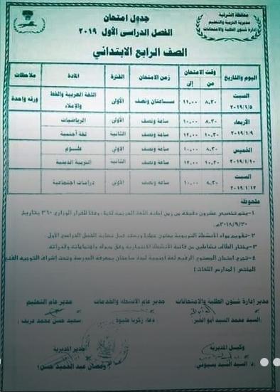 جدول امتحانات الصف الرابع الإبتدائي محافظة الشرقية