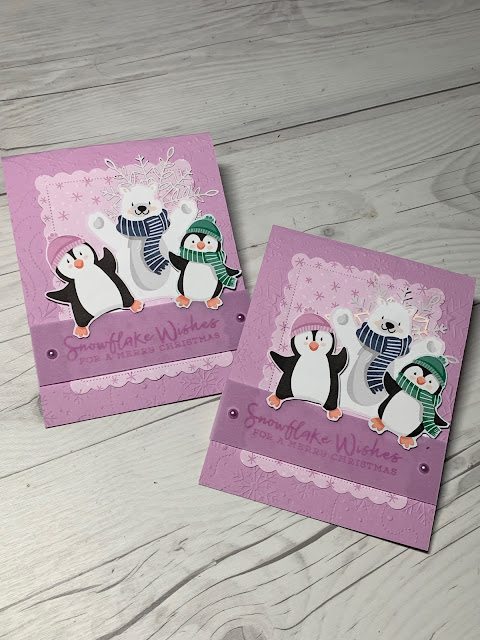 """Hand-made CHristmas Card using images from the Stampin' Up! Penguin Playmates 12"""" X 12"""" Designer Series Paper"""