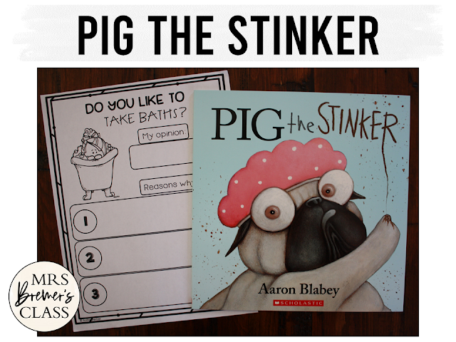 Pig the Stinker Pig the Grub book study activities unit with Common Core aligned literacy companion activities for Kindergarten and First Grade