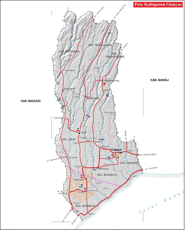 Peta Jalan Kabupaten Gianyar
