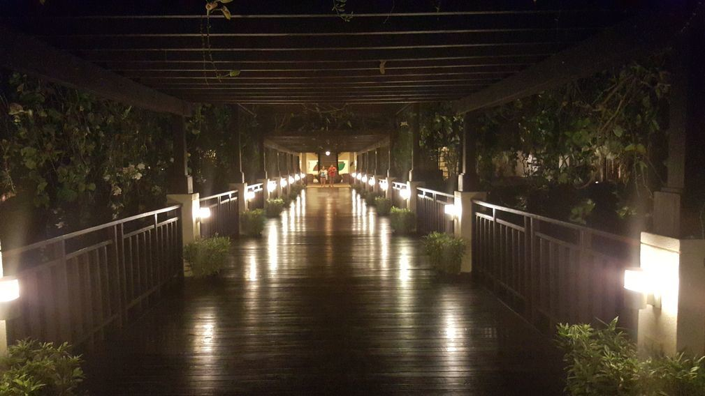 The beach club at Anvaya Cove at night