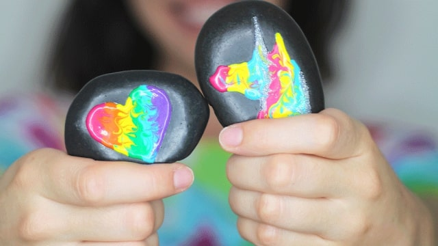 puffy paint ideas with painted rocks