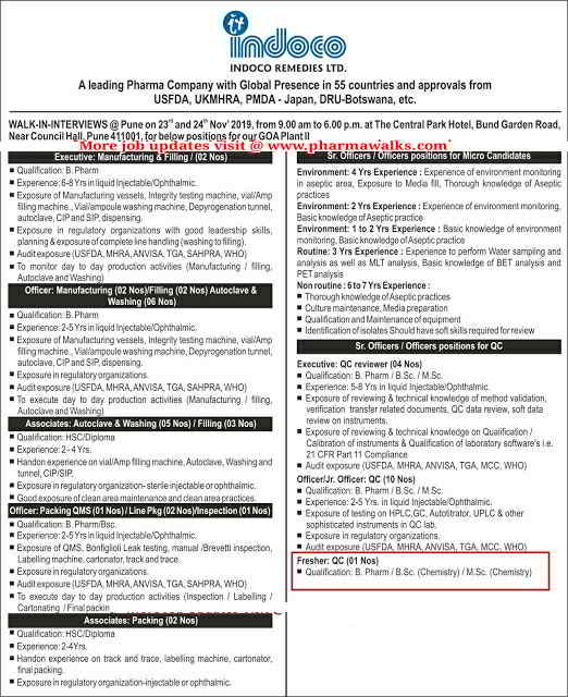 Indoco Remidies walk-in interview for Freshers and Experienced candidates multiple positions on 23rd & 24th Nov' 2019