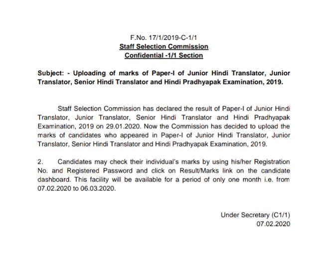 Uploading of marks of Paper-I of Junior Hindi Translator, Junior  Translator, Senior Hindi Translator and Hindi Pradhyapak Examination, 2019.