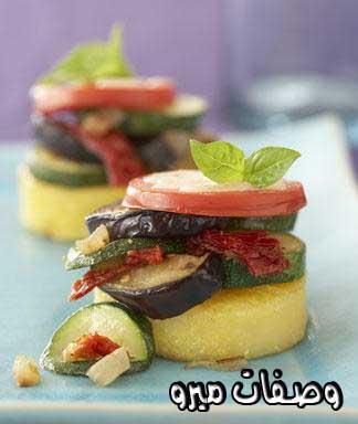 Eggplant - Polenta Stacks Recipe