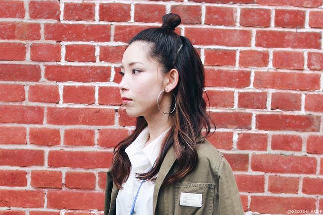 日本人ファッションブロガー,Mizuho K,今日のコーデ.Choiesビッグシャツワンピース,Dresslilyマルチカラーストライプガウチョパンツ,シルバープラットフォームサンダル,ZARAブルーミ二バッグ、フープイヤリング,アーミーグリーンロングジャケット,楽チン大人カジュアルスタイル