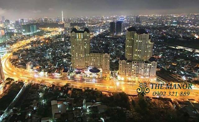Ảnh chụp đêm từ trên cao căn hộ The Manor đường Nguyễn Hữu Cảnh Quận Bình Thạnh HCM