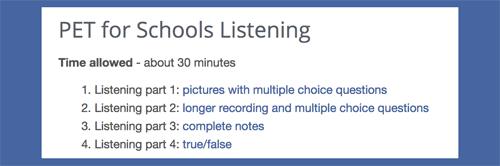 PET for Schools listening practice