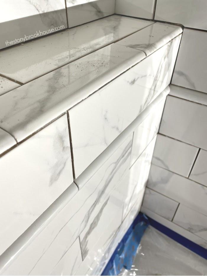 Bullnose tile on ledge - finishing the corner