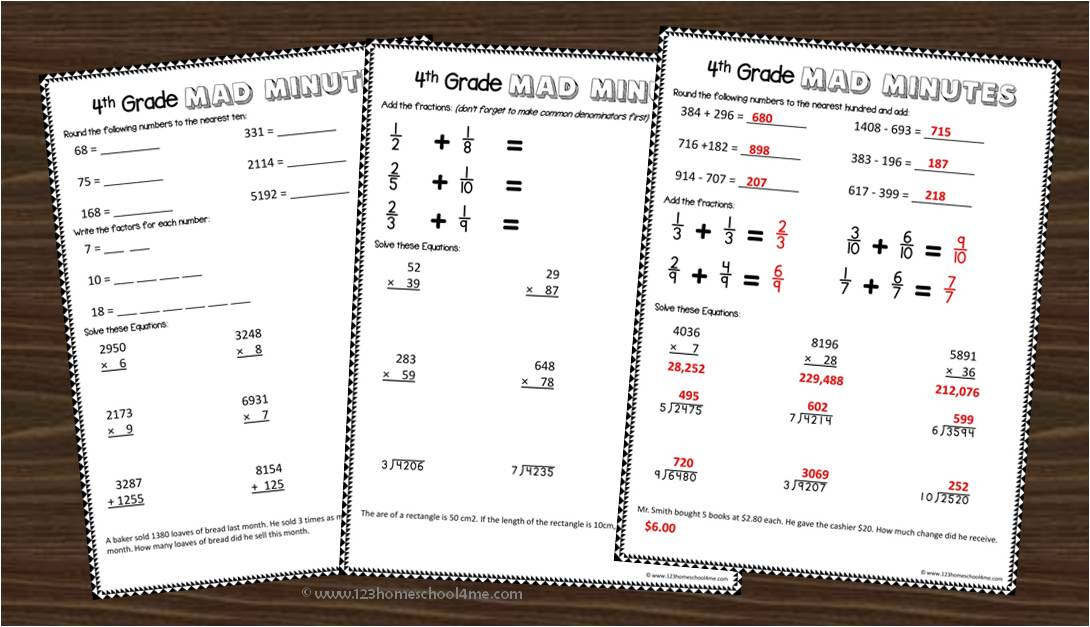 4th Grade Math Worksheets – A Math Worksheets