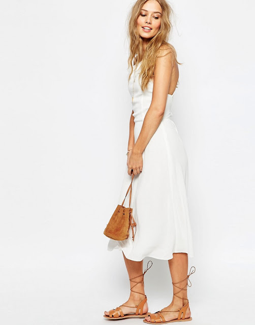 white tie back midi dress, white tie back strappy dress,
