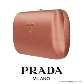 Kate Middleton carried Prada Peach Satin Box Clutch