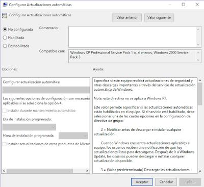 Actualizaciones automaticas windows 10
