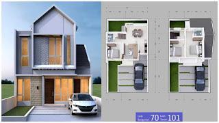 Denah rumah type 70 2 lantai