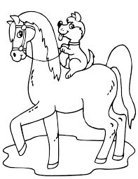Baby Horse And Dog At Farm Coloring Pages For Print