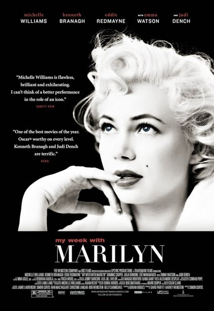 'My Week with Marilyn' poster featuring close-up of Williams as Monroe giving sultry look