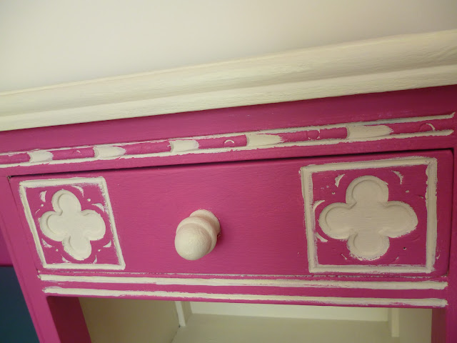 Upcycled dark wooden furniture project recycle furniture Pink