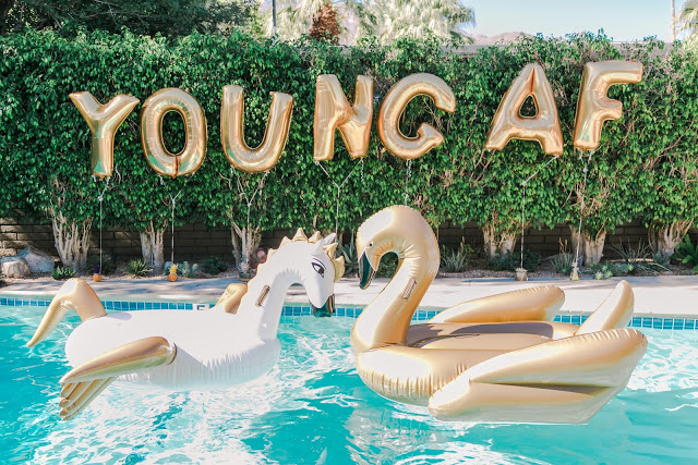 large gold balloons, swan pool floaties, funboy, palm springs birthday party, 30th birthday ideas, how to celebrate your birthday