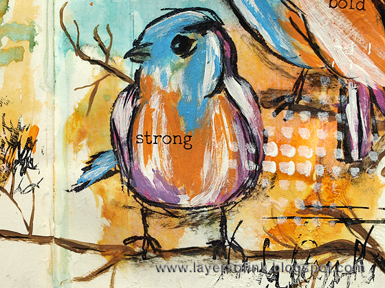 Layers of ink - Bold Birds Art Journal Tutorial by Anna-Karin, with Scribbly Birds stamps by Dina Wakley, Ranger Distress Paints.