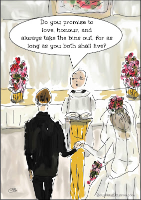 Funny Wedding Cartoon in which the groom's vows include promising to take the bins out