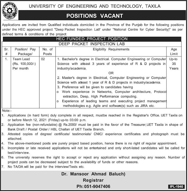 Latest New jobs in UET UNIVERSITY of Engineering  and Technology Taxila published today  in daily express Newspapers for the following latest New Jobs in UET UNIVERSITY of Engineering And Technology Taxila, interested candidate may apply for UET UNIVERSITY of Engineering and Technology latest jobs 2021.