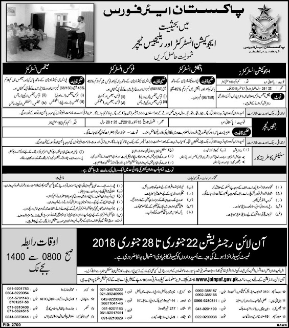 Education Instructors Jobs in PAF 2018