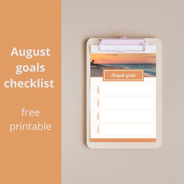 August goals checklist - free printable